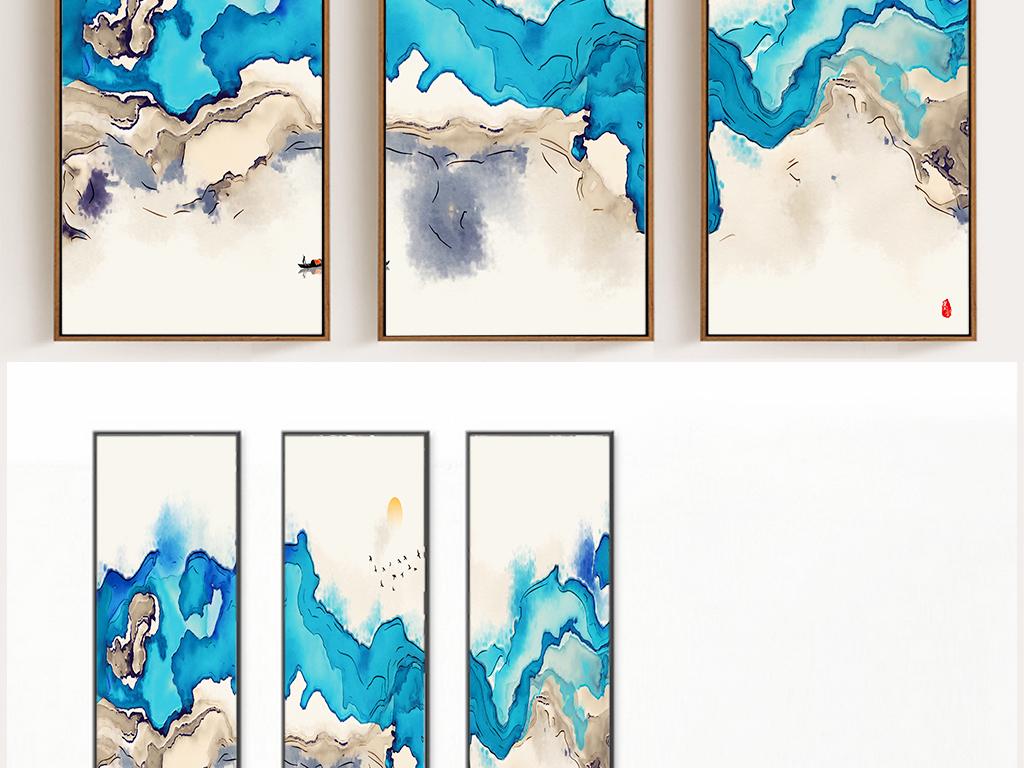 新中式抽象手绘大海装饰画无框画壁画背景墙