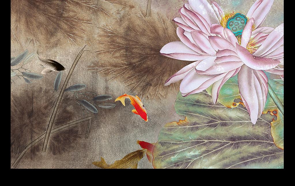 中国水墨画荷花背景墙