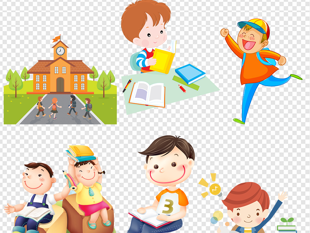卡通小学生学习运动素材