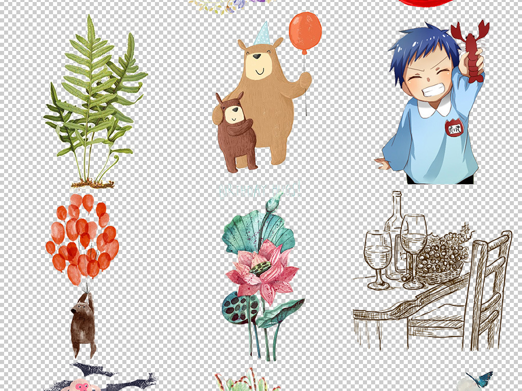 荷叶动漫人物莲花秋叶小笼包包子小老鼠卡通植物花卉手绘彩绘钟表插画
