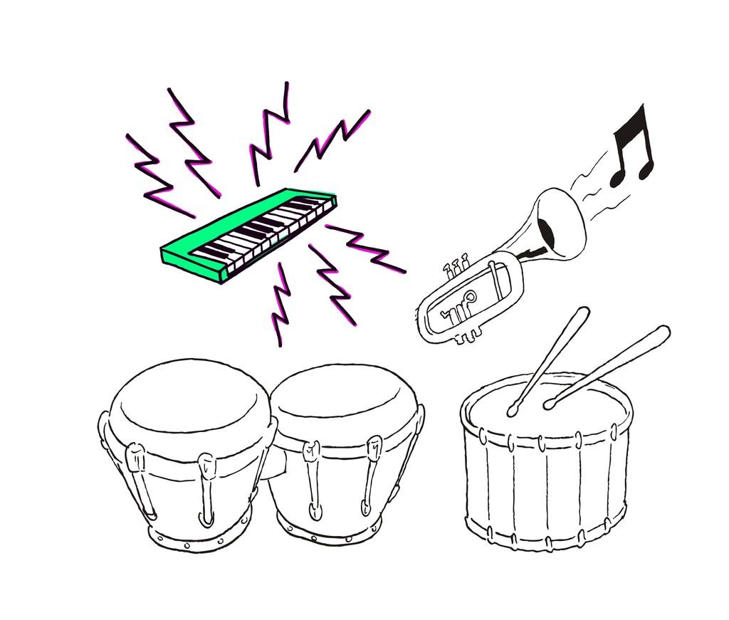 卡通音乐器材简笔画架子鼓电子琴图片设计素材 高清其他模板下载 1.14MB QQ23F2C059分享 其他大全