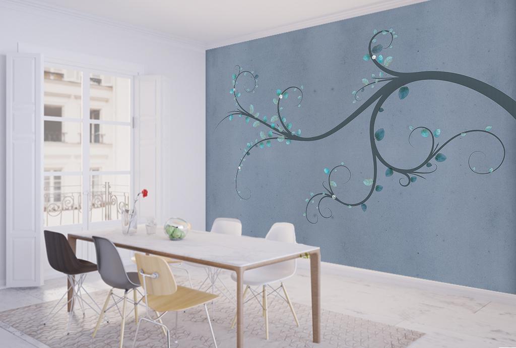 手绘现代简约中式电视背景墙