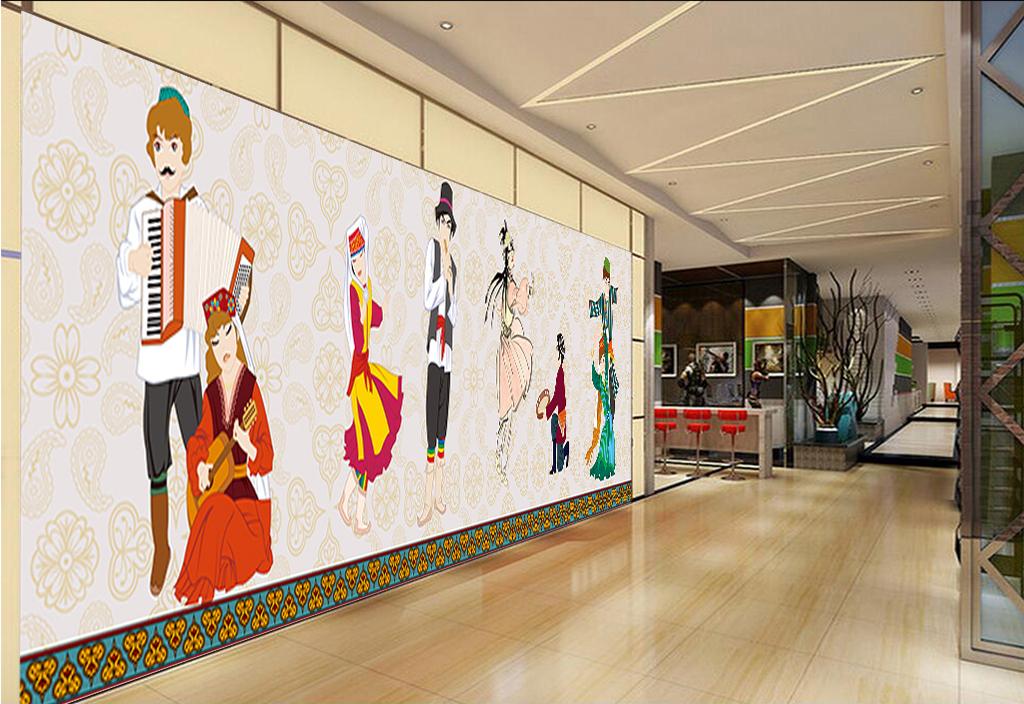 psd)卡通手绘高清背景墙大型少数民族舞蹈舞蹈少数民族舞蹈