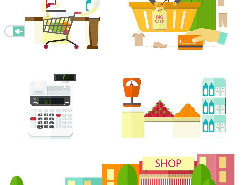 ai)手绘卡通购物车超市购物车矢量图
