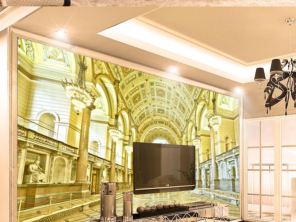 墙纸宗教城堡金碧辉煌西方吊灯金色大厅走廊黄金宫殿客厅3d背景欧式图片