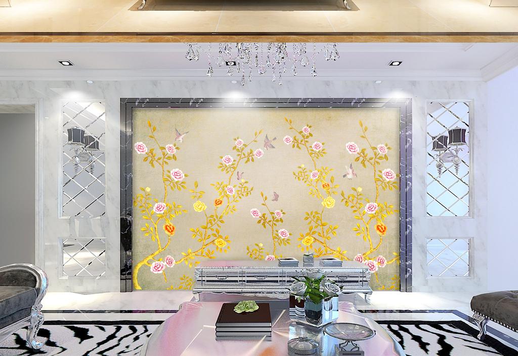 中式手绘工笔花鸟背景墙装饰画