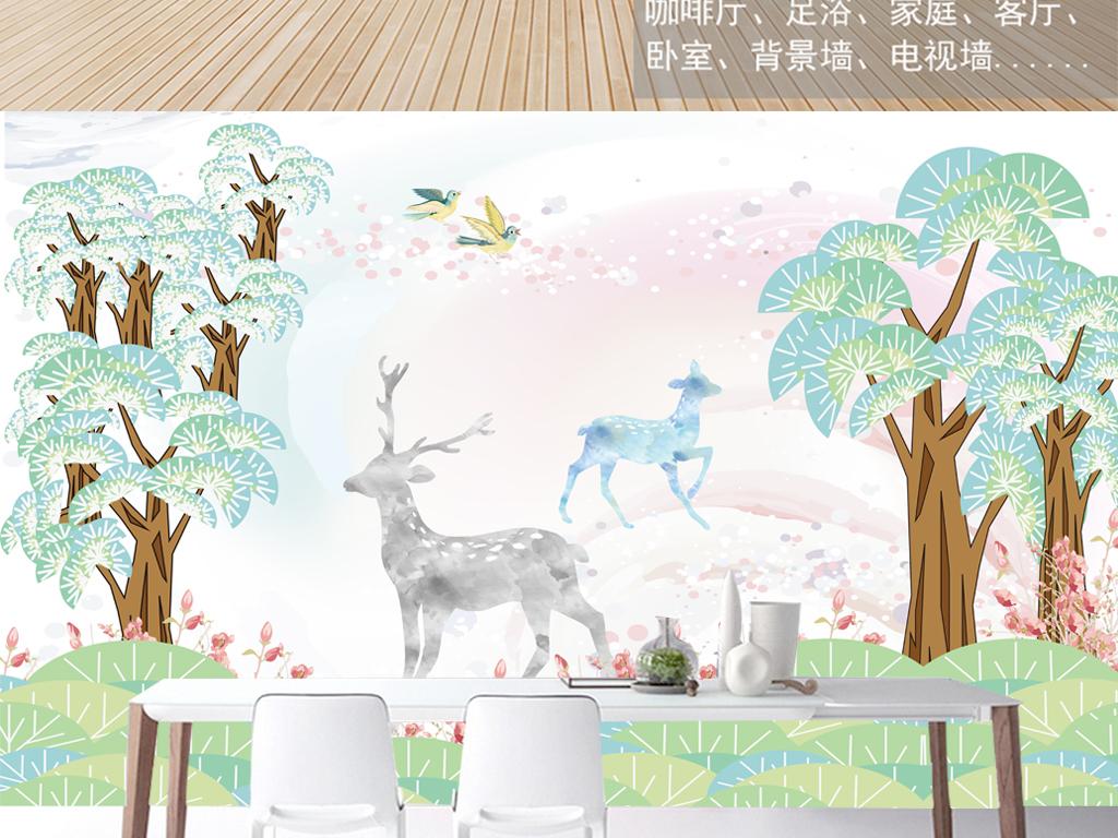 手绘卡通麋鹿森林背景墙装饰画图片设计素材_高清psd
