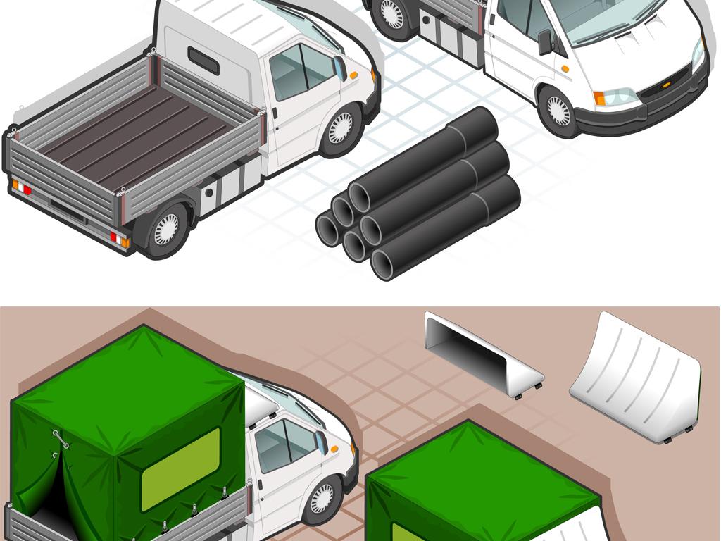 货车箱货汽车卡车设计卡通3d模型