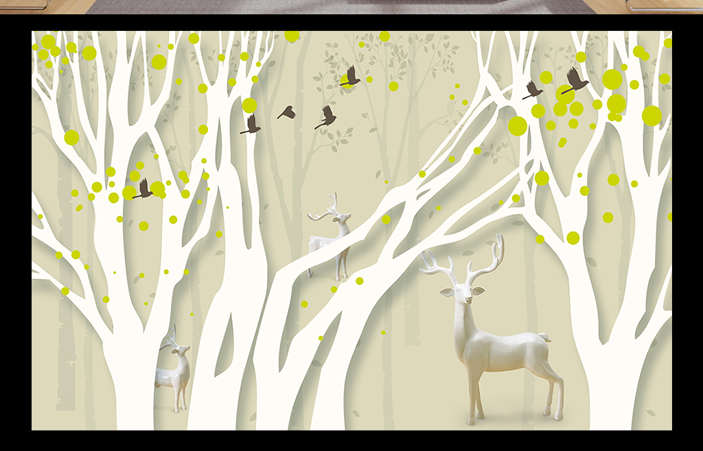 手绘森系麋鹿素材黑白