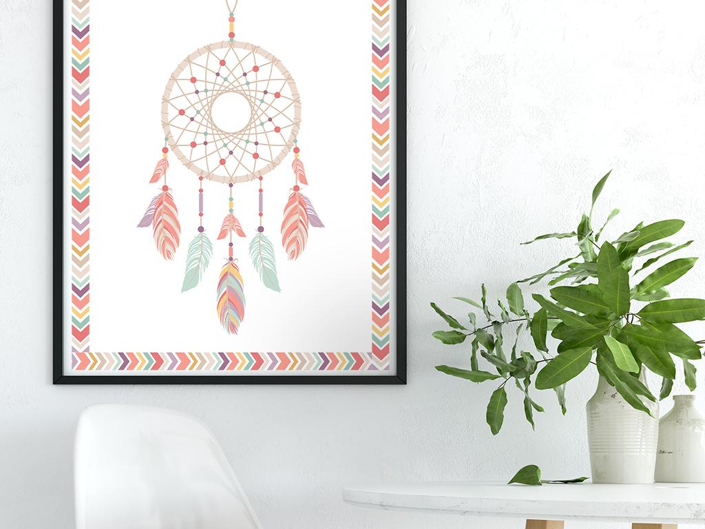 手绘民族风抽象图案装饰画