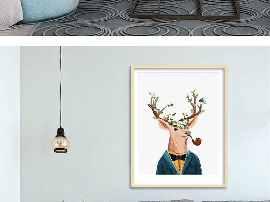 装饰画 北欧装饰画 动物装饰画 > 2017创意手绘彩色麋鹿无框画  素材