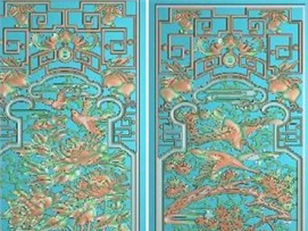 牡丹花鸟松鹤镂空屏风洋花屏风浮雕图雕刻图