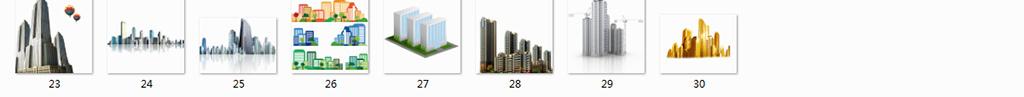 手绘楼房卡通房子房屋商务科技商务素材ppt元素城市商务楼高楼大厦