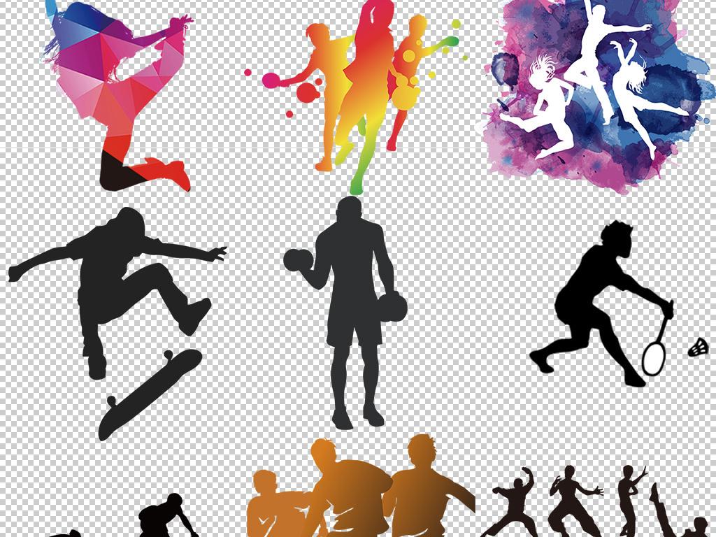 打篮球跳舞的人人物剪影