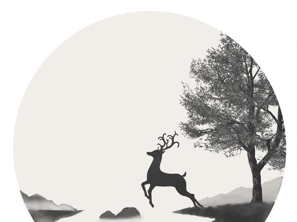 背景墙|装饰画 无框画 风景无框画 > 黑白无框画简约无框画鹿手绘插画