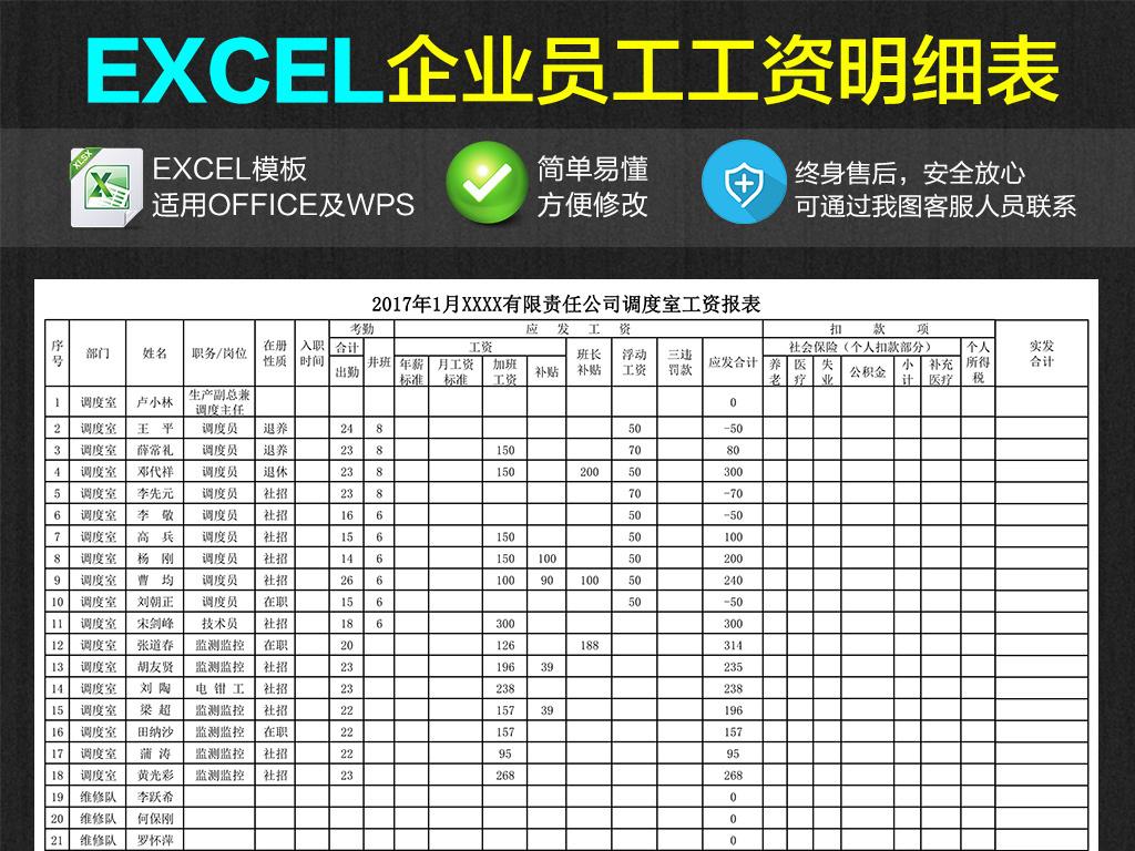 公司企业员工工资明细表excel表格图片