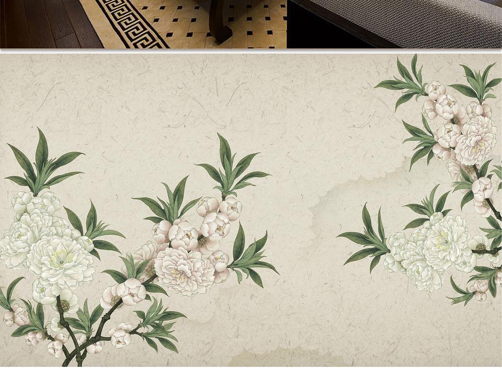 新中式分层手绘工笔花鸟山水背景墙装饰画