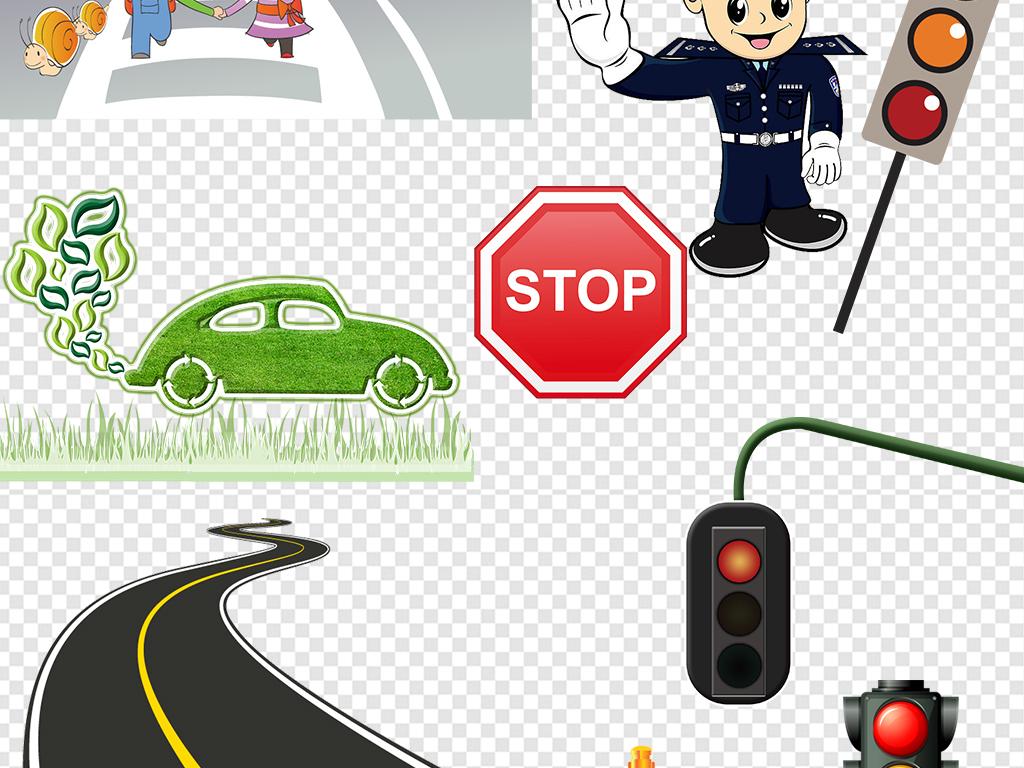 手抄报卡通红绿灯图标交通安全红绿灯漫画小学生过马路漫画小孩过马路