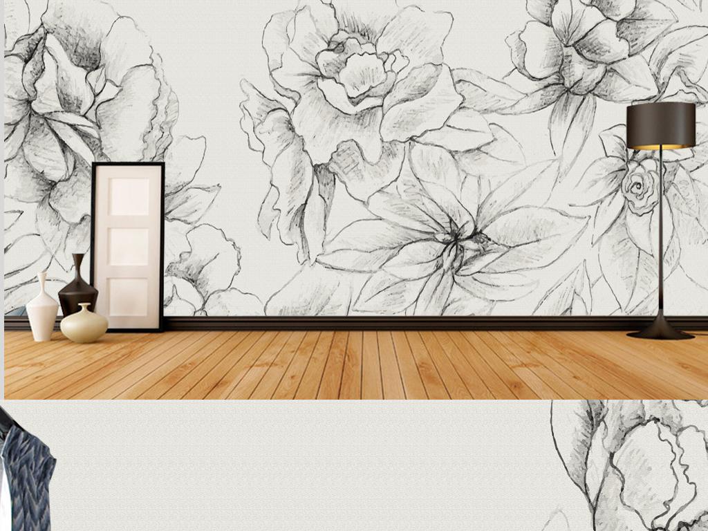 新中式手绘花朵电视背景墙墙纸背景