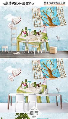 北欧简约手绘清新圣诞音乐水彩卡通背景墙装饰画