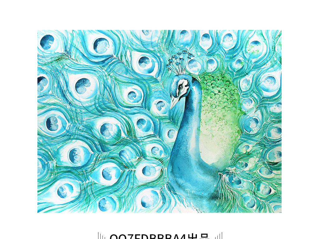 唯美绿色背景孔雀开屏动物手绘绘画装饰画