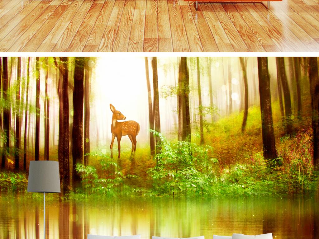 时尚唯美麋鹿倒影森林背景北欧