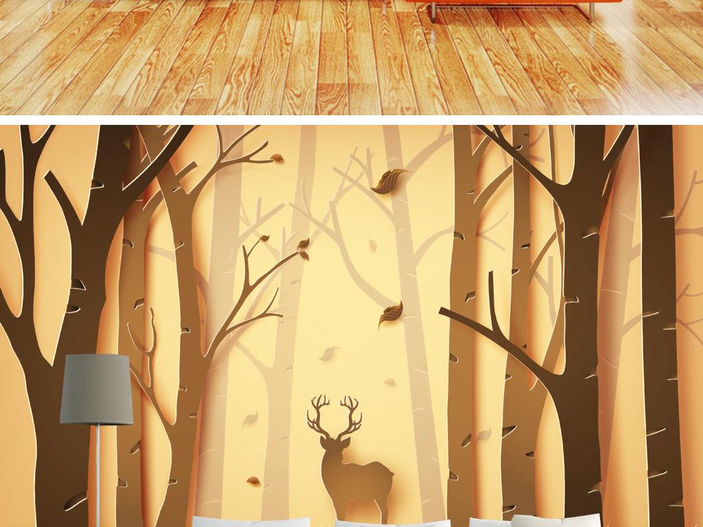 3d立体麋鹿森林复古唯美背景