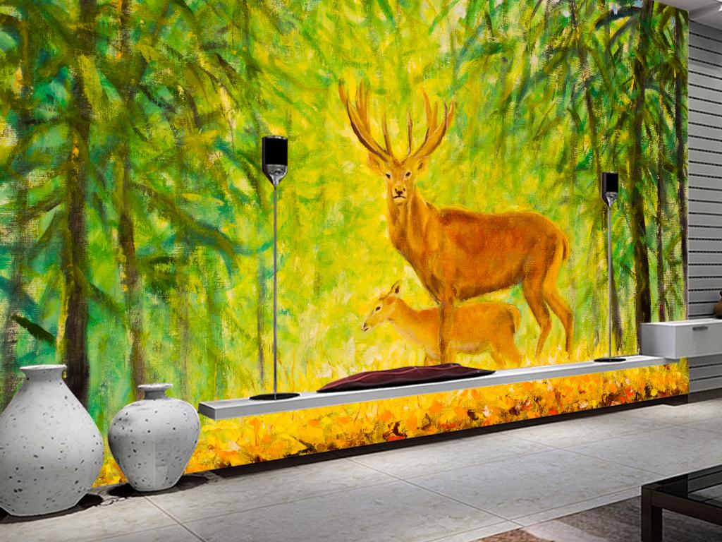 油画麋鹿森林唯美北欧欧式背景