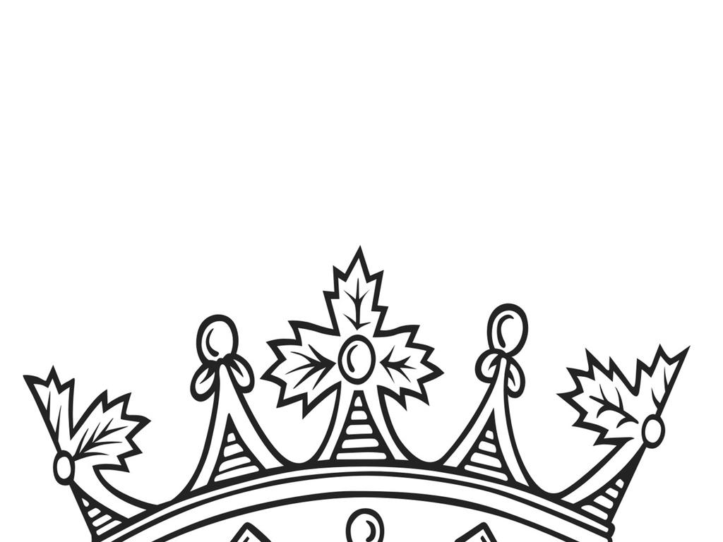 皇冠黑白简笔画
