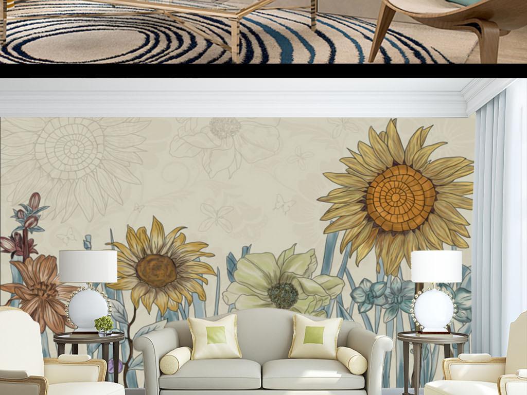 新中式手绘向日葵电视背景墙