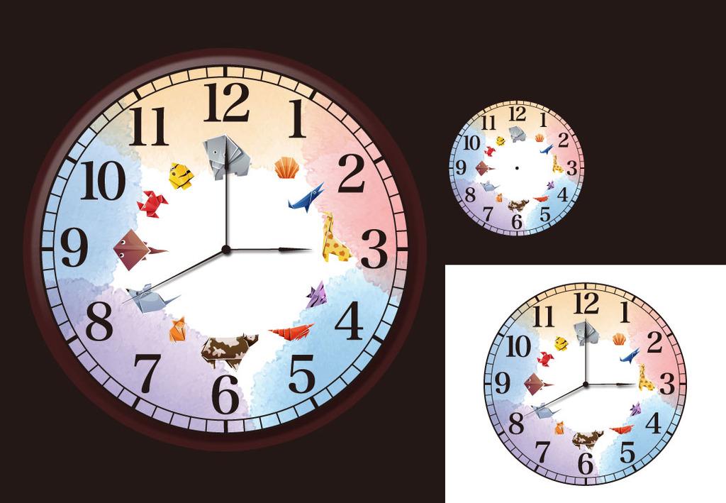 彩色儿童动物折纸可爱益智简洁表盘钟表设计