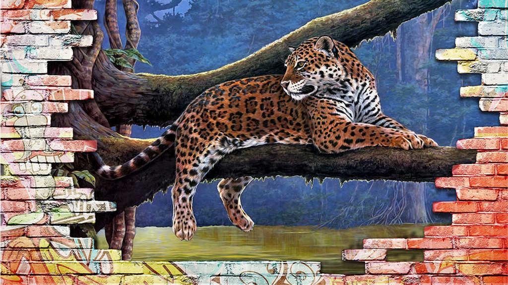 3d手绘豹背景墙