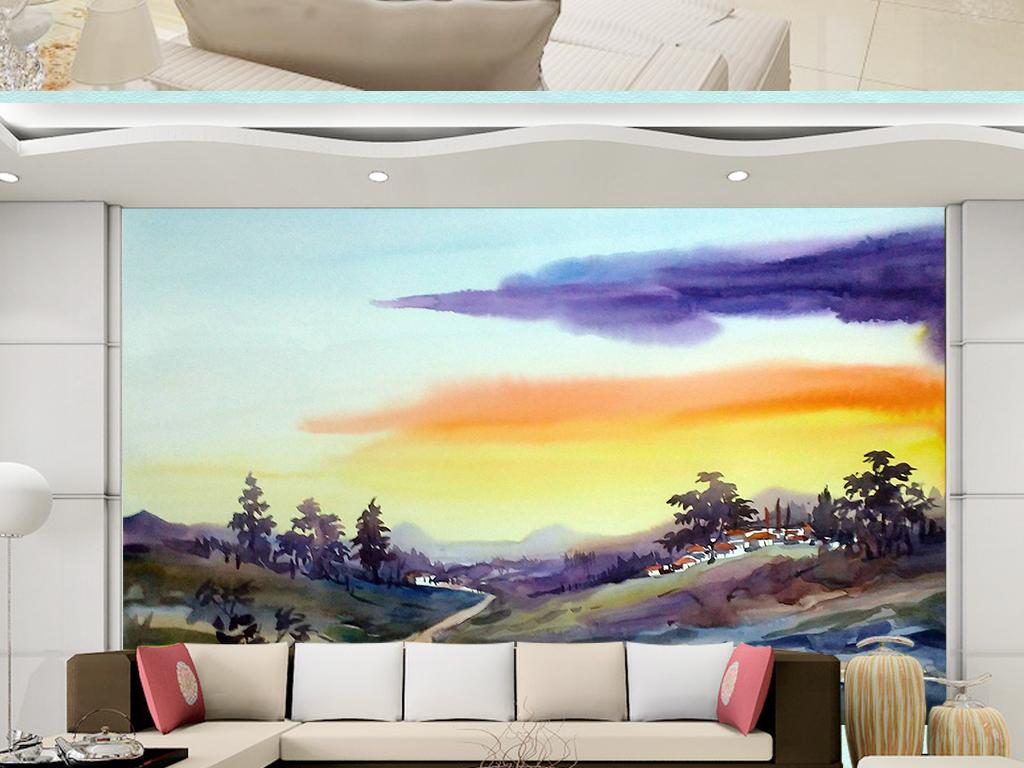 唯美手绘山川河流自然景物背景墙