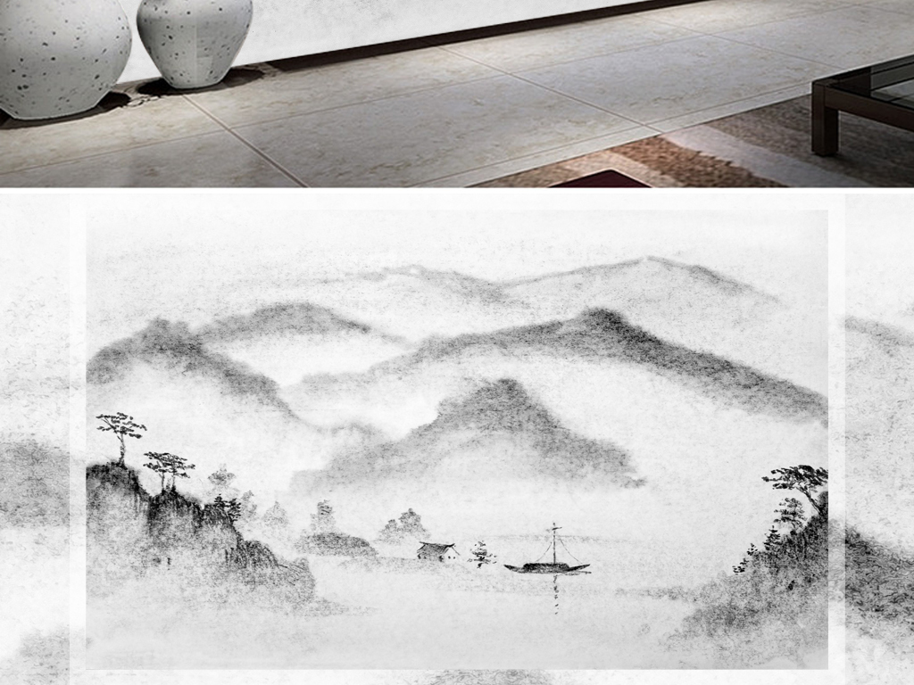 水墨山水黑白风景背景图片