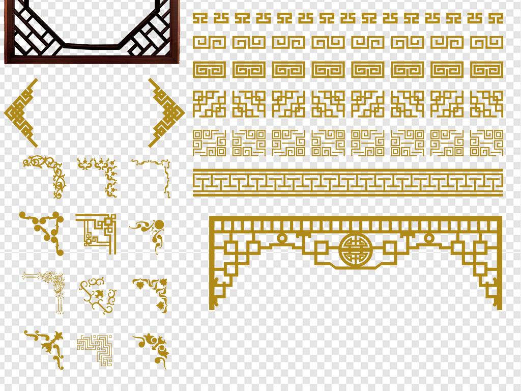 新中式花纹边框外框png素材图片