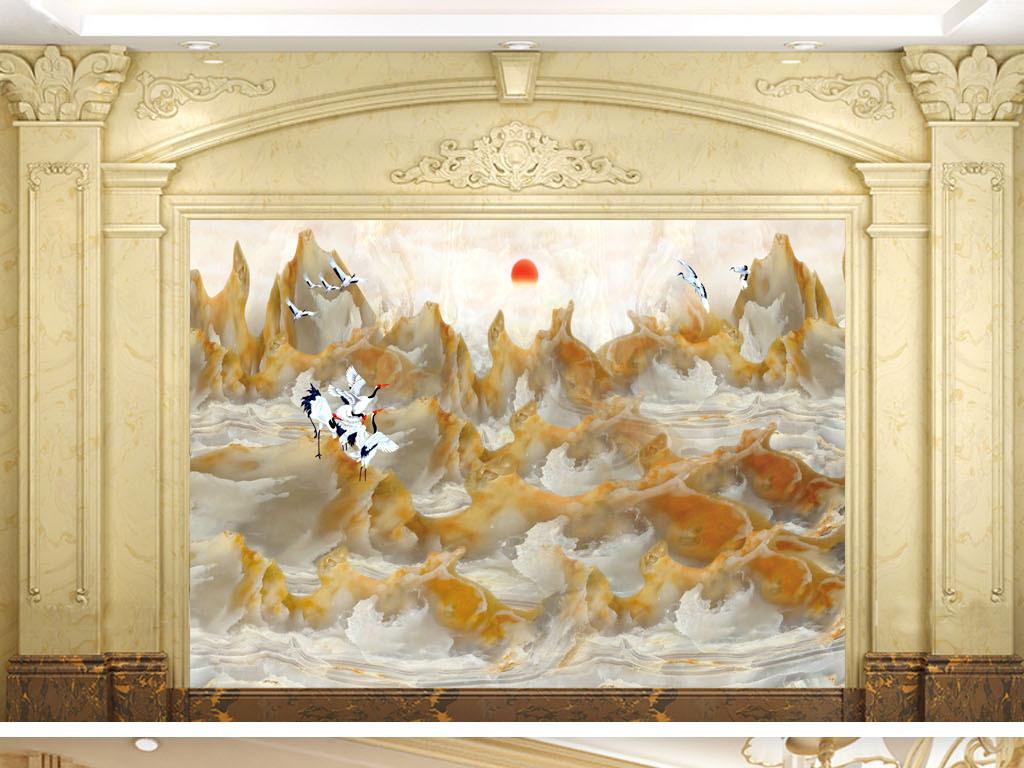 大理石纹奢华皇冠电视墙酒店大堂卧室欧式壁画山水石