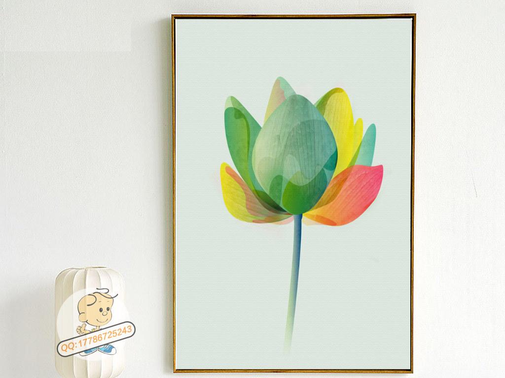 北欧简约手绘彩色荷花蘑菇绿叶三联装饰画