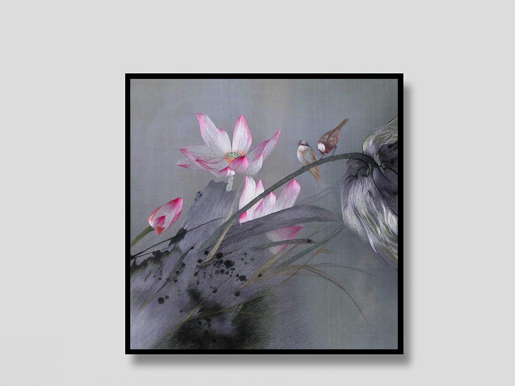 新中式唯美手绘荷花小鸟装饰画