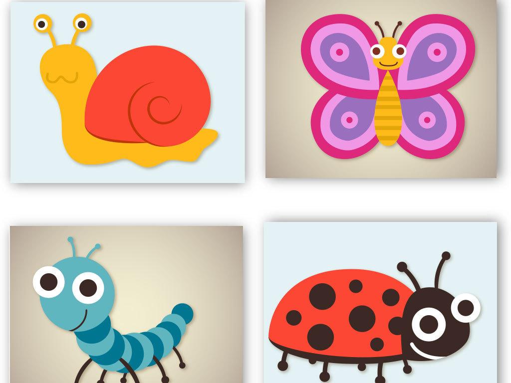 蝴蝶蜗牛虫子七星瓢虫设计元素海报素材动物