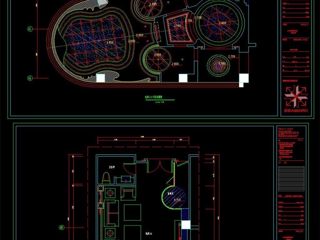 整套ktv室内装修cad设计图平面图下载(图片7.26mb)_图