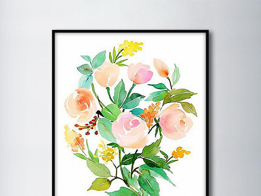 开花的树枝北欧清新手绘现代时尚家居装饰画