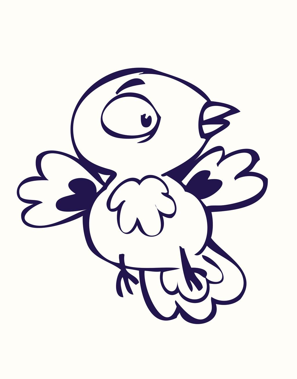 卡通小鸟简笔矢量图