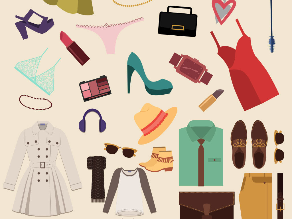 设计元素 人物形象 美女 > 手绘时尚多款男女式服装矢量图素材  版权