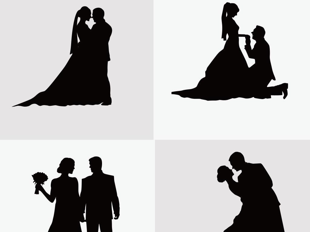 设计元素 人物形象 美女 > 黑白剪影婚礼素材  素材图片参数: 编号
