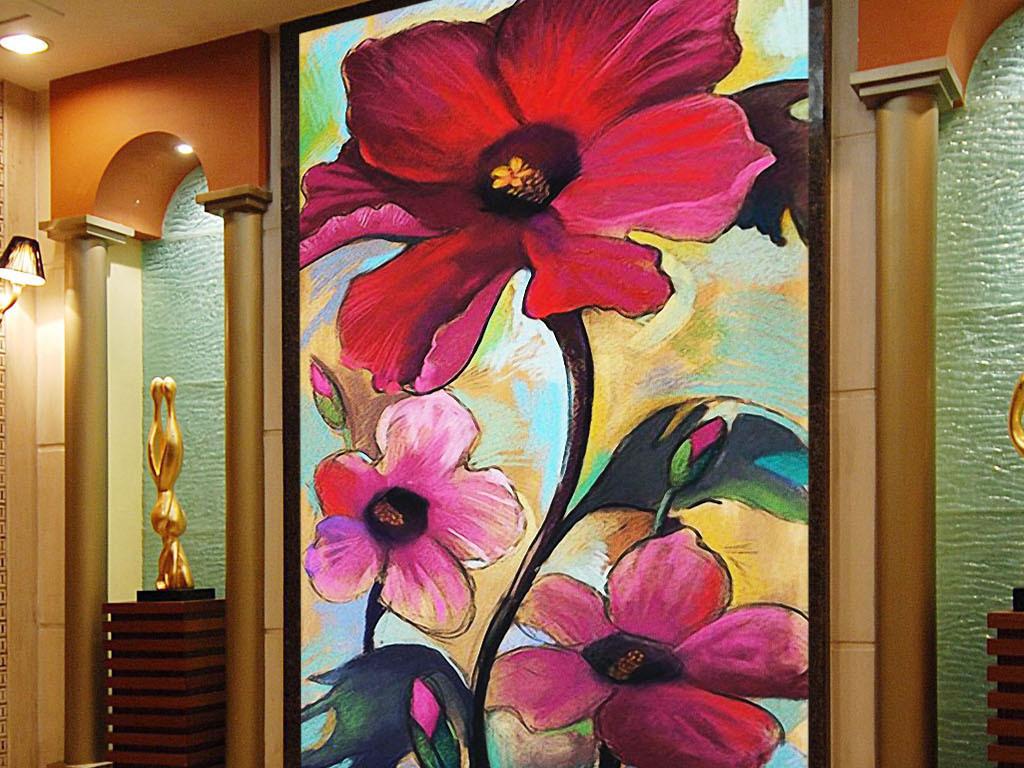 欲望红花欧式复古手绘花卉现代时尚玄关壁画