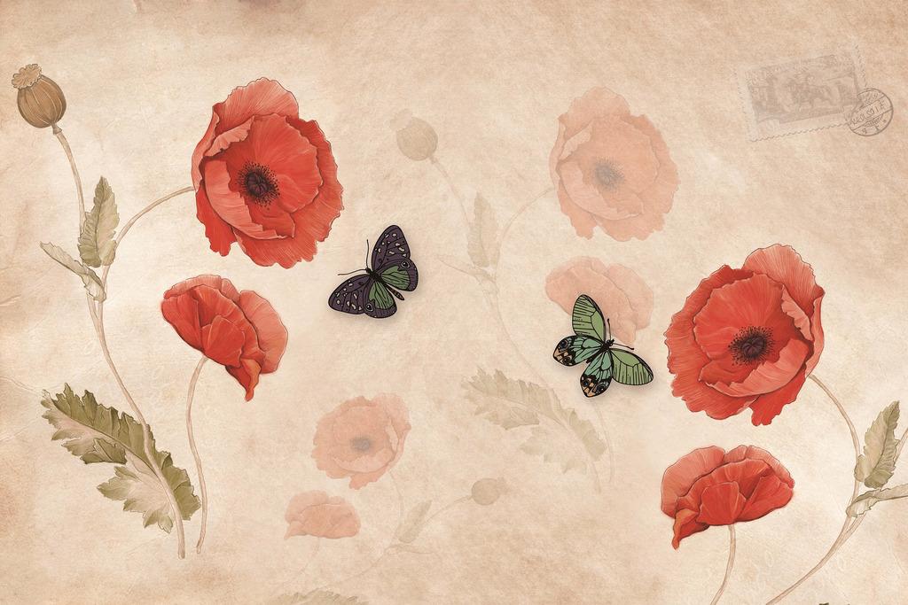 手绘花卉花朵电视背景墙(图片编号:16267470)_欧式墙