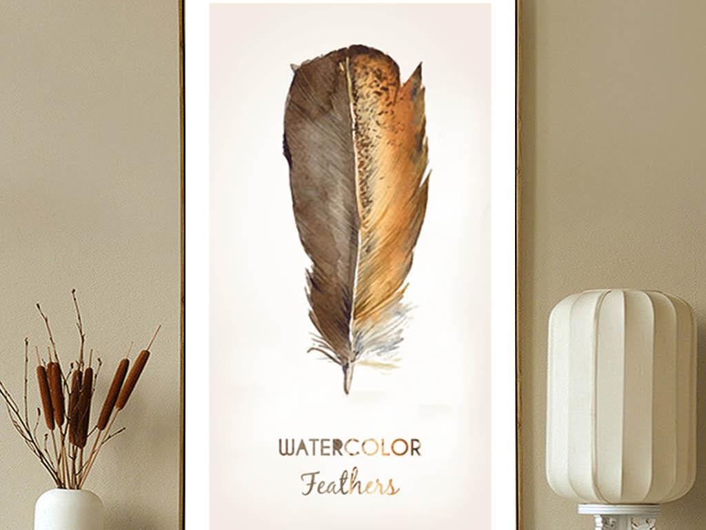 北欧手绘羽毛装饰画三联无框画
