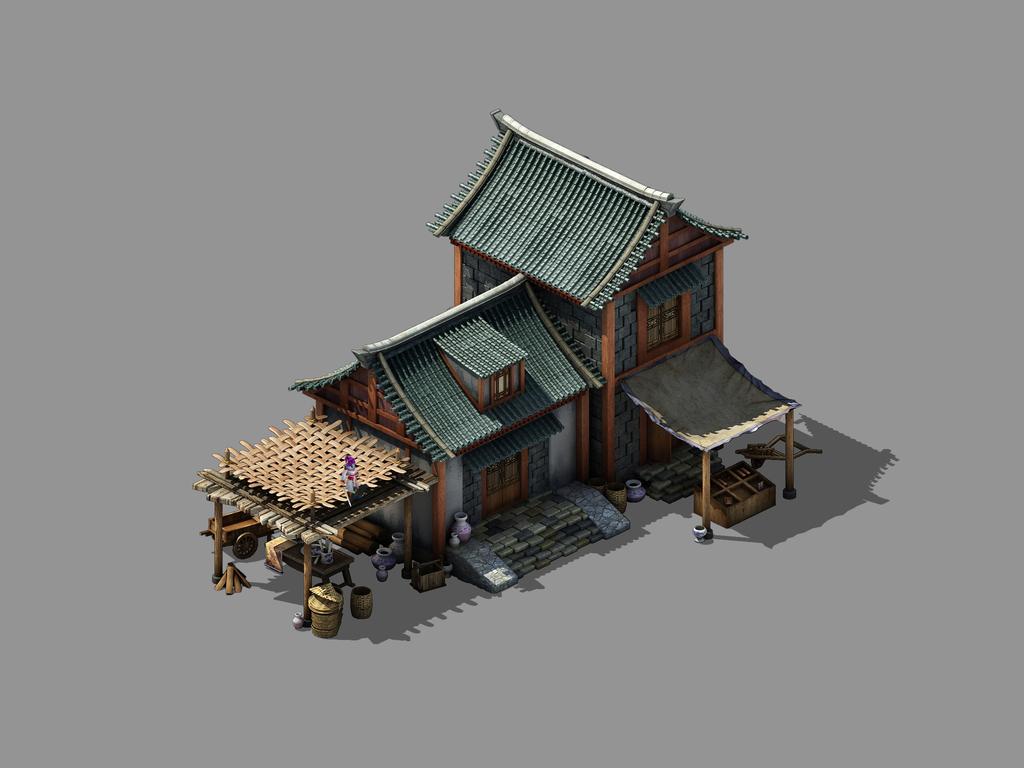 动画房子手绘图古代