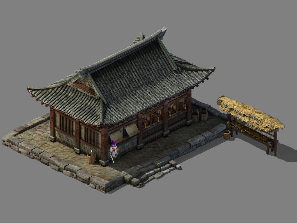 房屋建筑模型3d欧式建筑模型马饲料游戏建筑素材马匹
