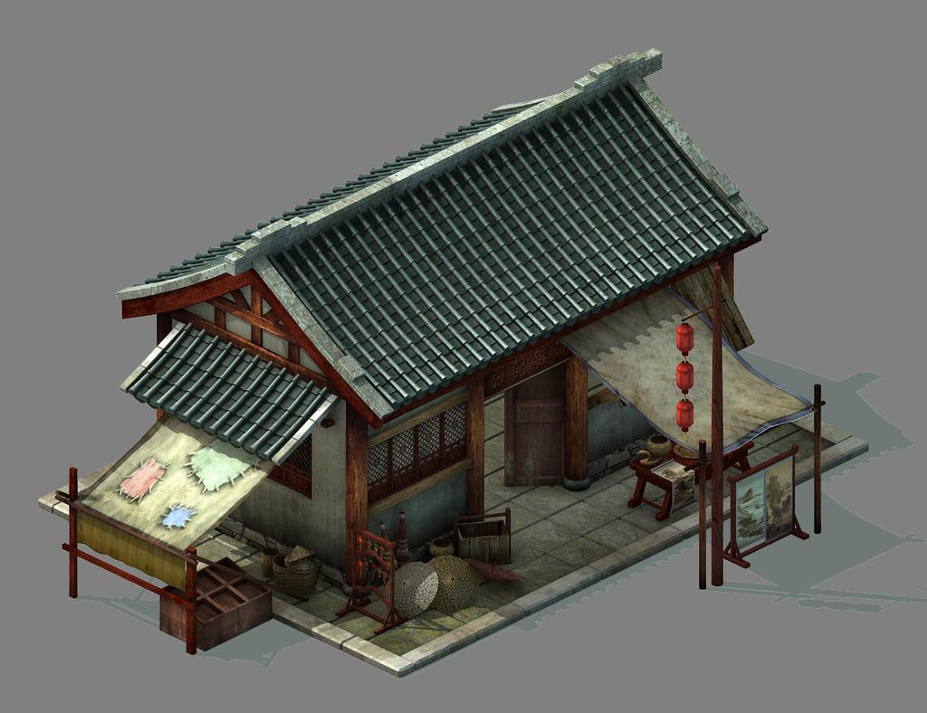 3dmax中国古代杂货铺建筑模型民房模型